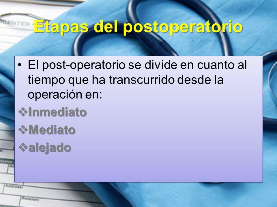 Etapas del postoperatorio El post-operatorio se divide en cuanto al tiempo que ha transcurrido desde la operación en:  Inmediato  Mediato  alejado