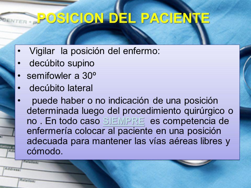 POSICION DEL PACIENTE Vigilar la posición del enfermo: decúbito supino semifowler a 30º decúbito lateral SIEMPRE puede haber o no indicación de una posición determinada luego del procedimiento quirúrgico o no.