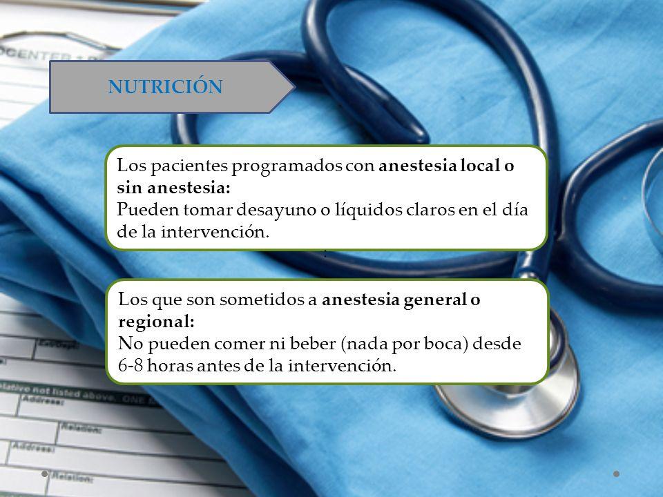 NUTRICIÓN Los pacientes programados con anestesia local o sin anestesia: Pueden tomar desayuno o líquidos claros en el día de la intervención. : Los q