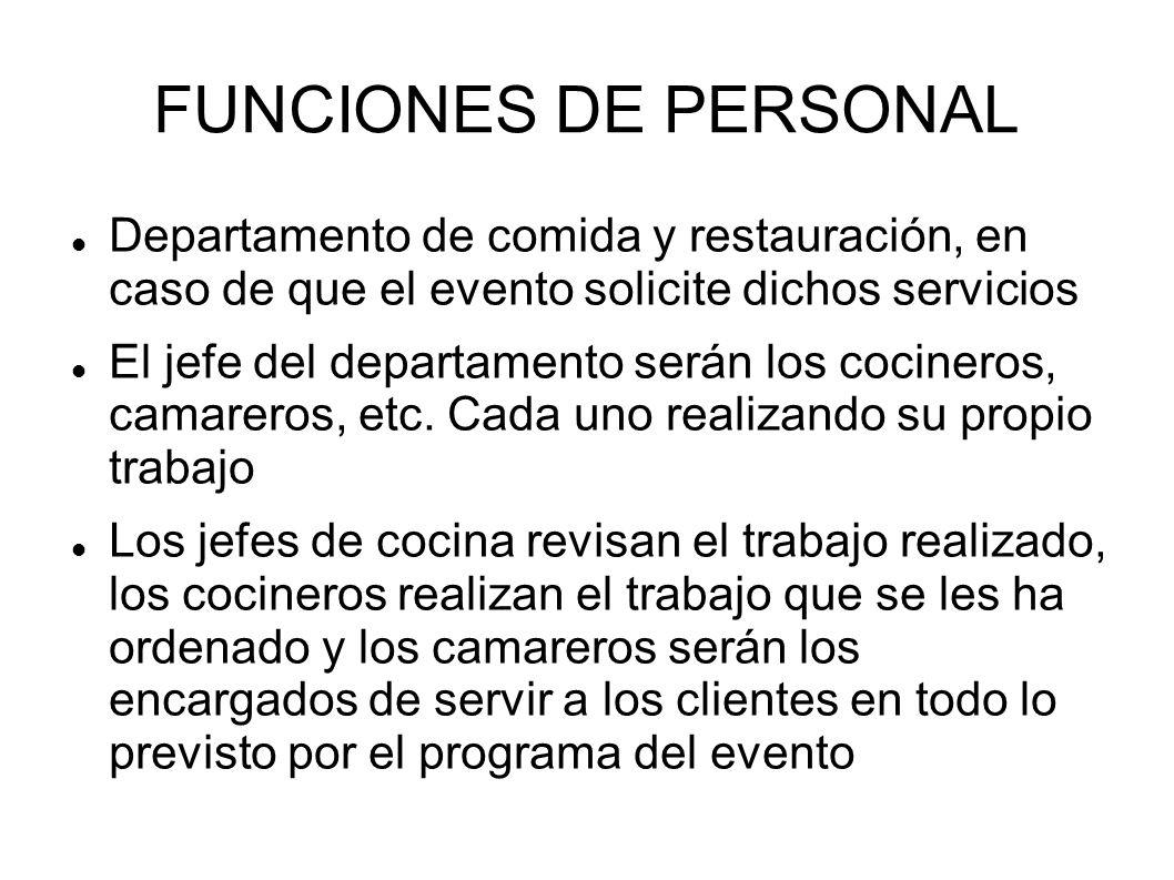 FUNCIONES DE PERSONAL Departamento de comida y restauración, en caso de que el evento solicite dichos servicios El jefe del departamento serán los cocineros, camareros, etc.