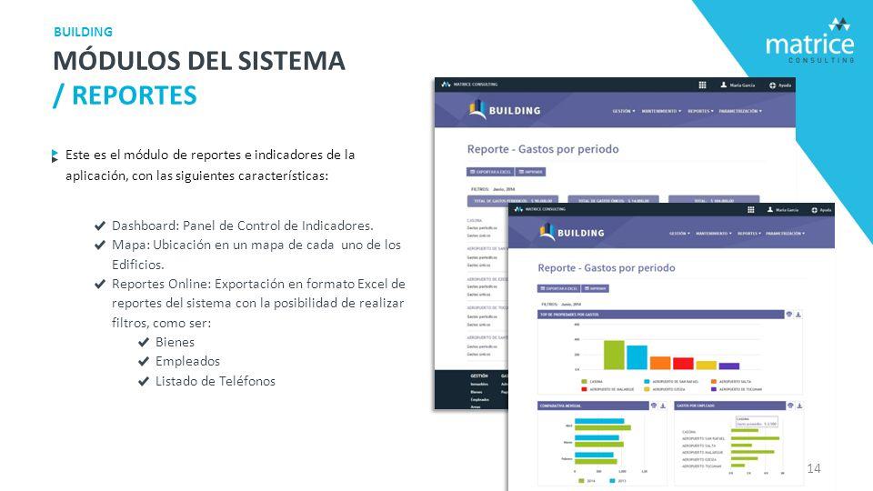 Este es el módulo de reportes e indicadores de la aplicación, con las siguientes características: Dashboard: Panel de Control de Indicadores.