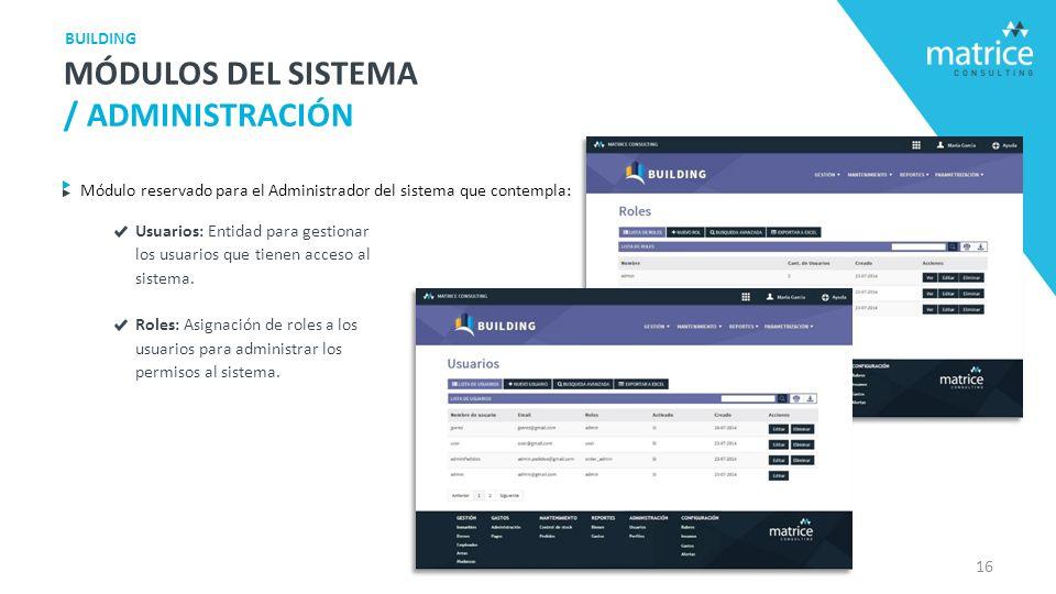 Módulo reservado para el Administrador del sistema que contempla: Usuarios: Entidad para gestionar los usuarios que tienen acceso al sistema.