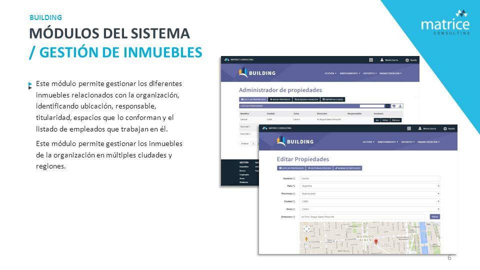 Este módulo permite gestionar los diferentes inmuebles relacionados con la organización, identificando ubicación, responsable, titularidad, espacios que lo conforman y el listado de empleados que trabajan en él.