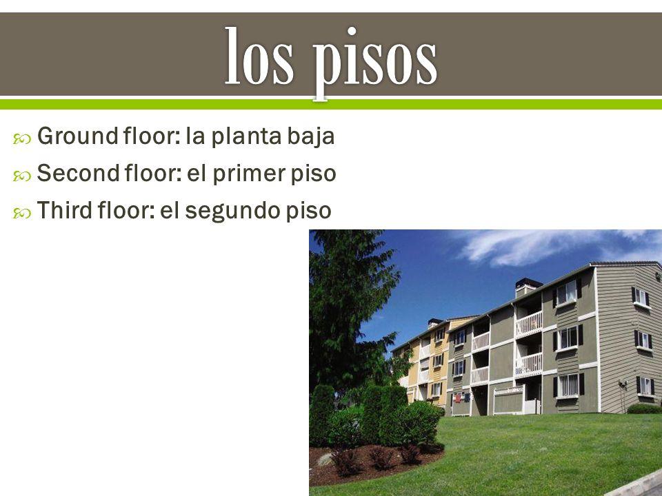  Ground floor: la planta baja  Second floor: el primer piso  Third floor: el segundo piso