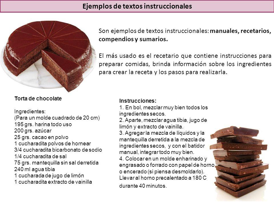 Son ejemplos de textos instruccionales: manuales, recetarios, compendios y sumarios.