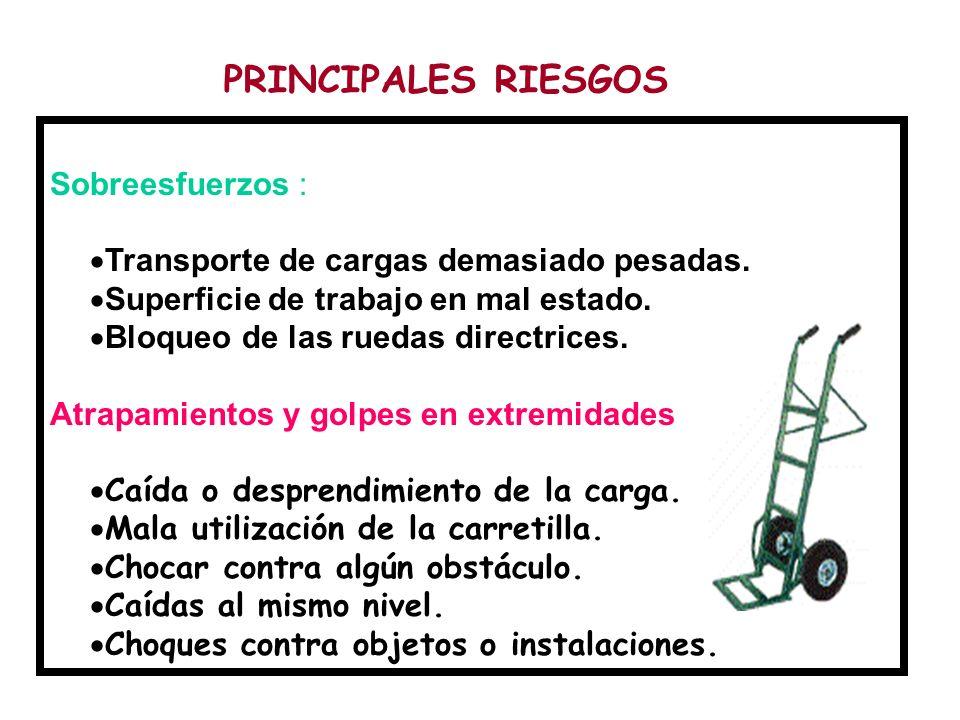 Sobreesfuerzos :  Transporte de cargas demasiado pesadas.  Superficie de trabajo en mal estado.  Bloqueo de las ruedas directrices. Atrapamientos y