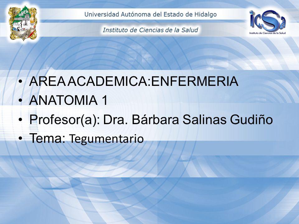 AREA ACADEMICA:ENFERMERIA ANATOMIA 1 Profesor(a): Dra. Bárbara Salinas Gudiño Tema: Tegumentario