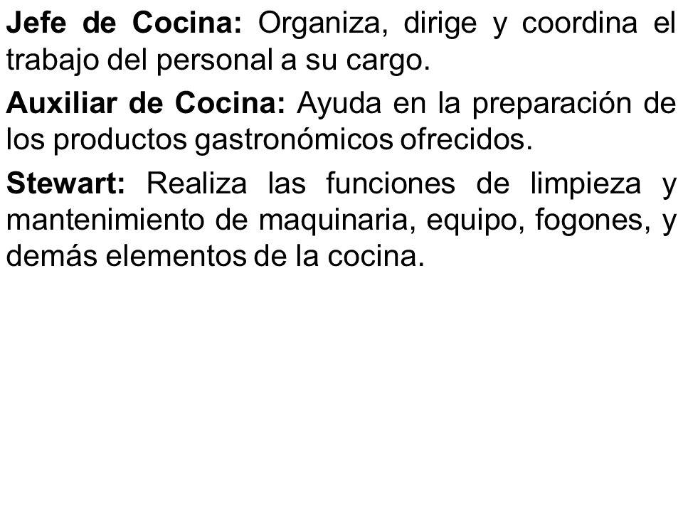 Jefe de Cocina: Organiza, dirige y coordina el trabajo del personal a su cargo.