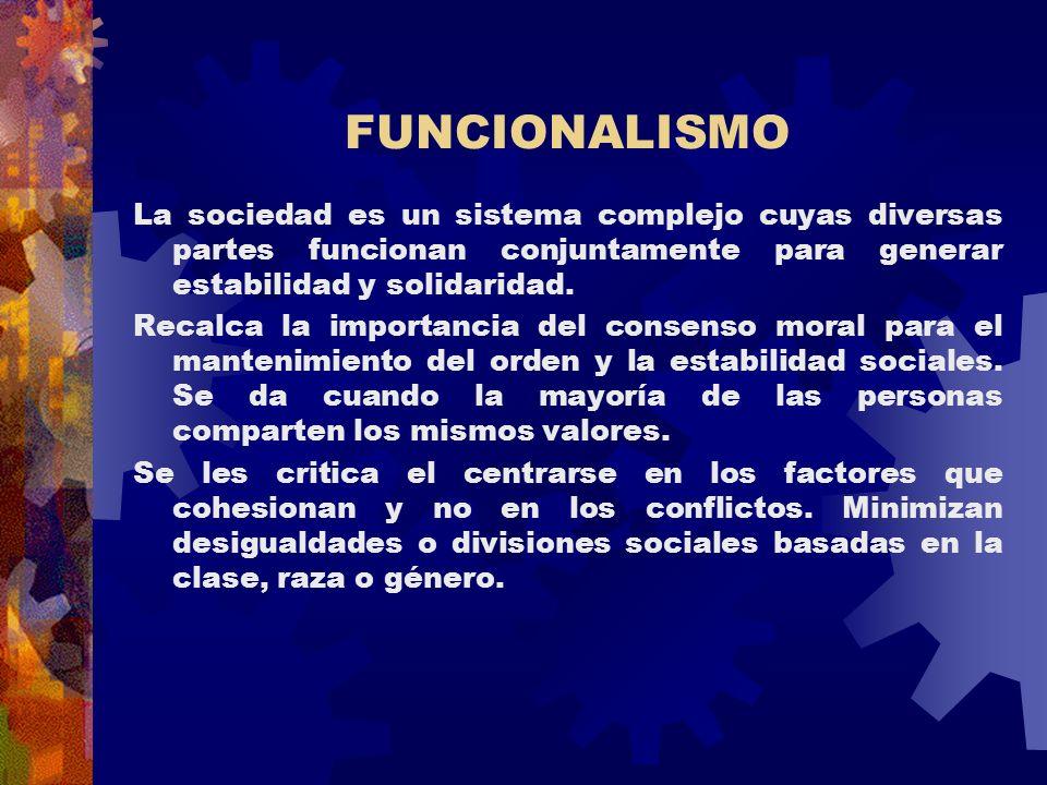 FUNCIONALISMO La sociedad es un sistema complejo cuyas diversas partes funcionan conjuntamente para generar estabilidad y solidaridad.
