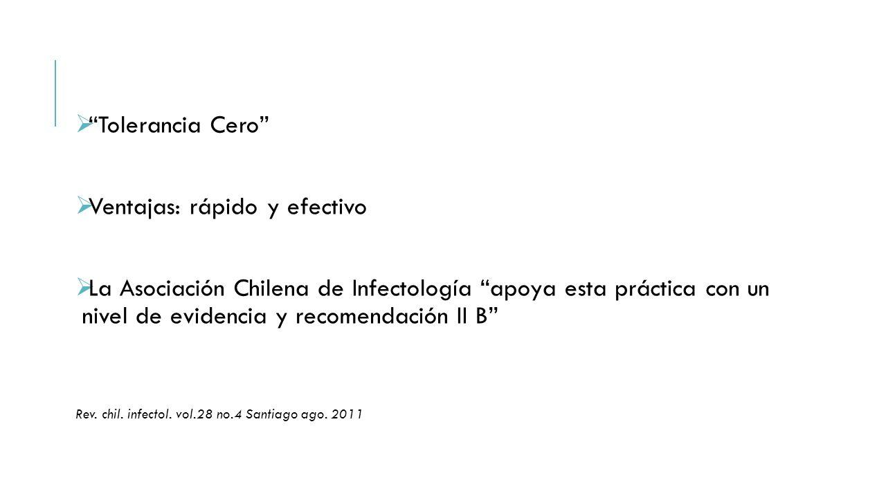 """ """"Tolerancia Cero""""  Ventajas: rápido y efectivo  La Asociación Chilena de Infectología """"apoya esta práctica con un nivel de evidencia y recomendaci"""