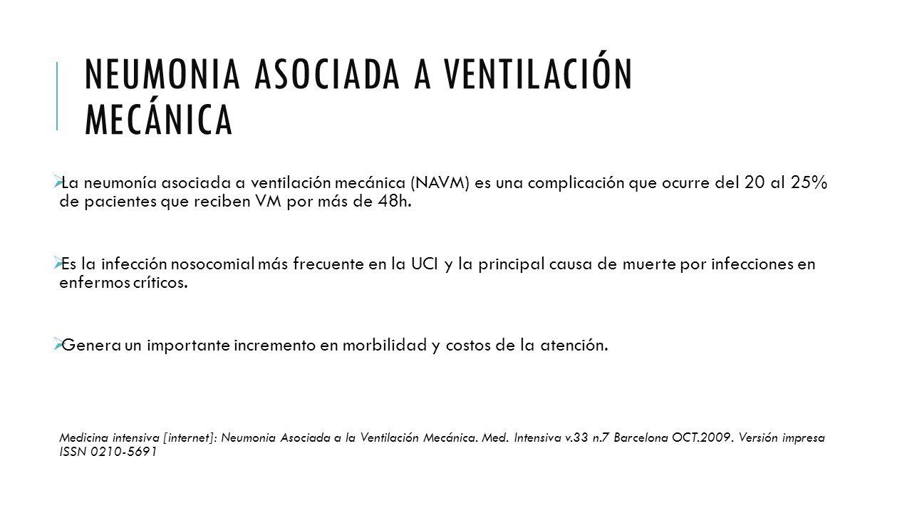 NEUMONIA ASOCIADA A VENTILACIÓN MECÁNICA  La neumonía asociada a ventilación mecánica (NAVM) es una complicación que ocurre del 20 al 25% de paciente