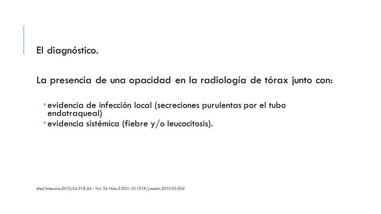 El diagnóstico. La presencia de una opacidad en la radiología de tórax junto con:  evidencia de infección local (secreciones purulentas por el tubo e