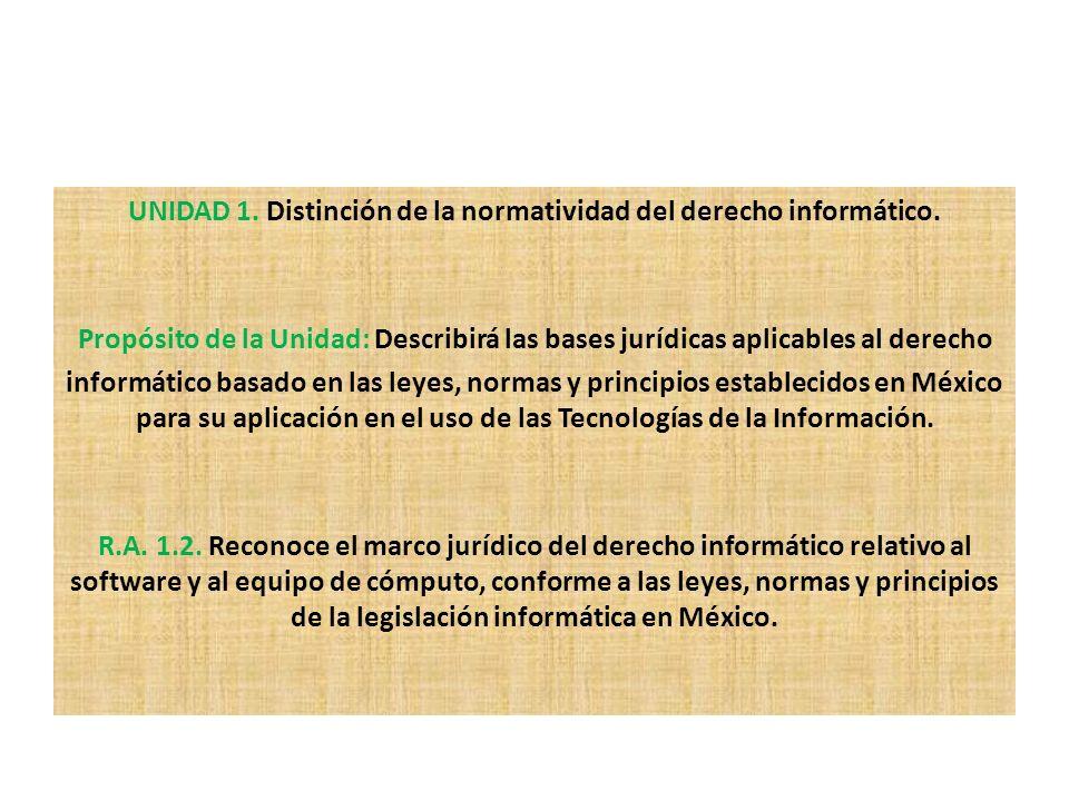 UNIDAD 1. Distinción de la normatividad del derecho informático.