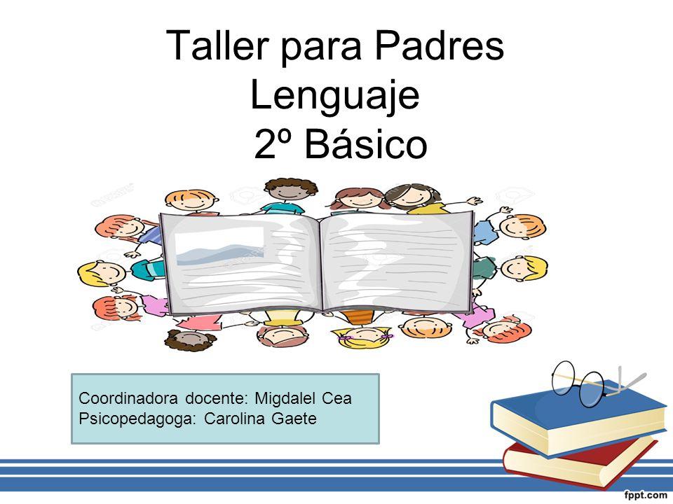 Taller para Padres Lenguaje 2º Básico Coordinadora docente: Migdalel Cea Psicopedagoga: Carolina Gaete