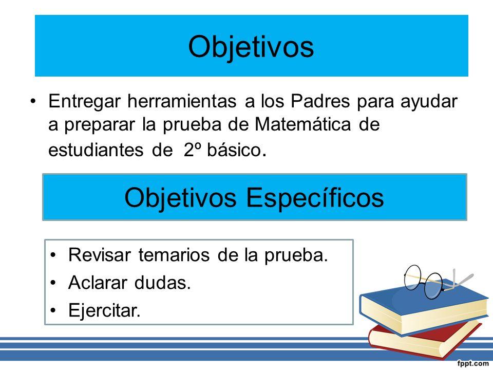 Objetivos Entregar herramientas a los Padres para ayudar a preparar la prueba de Matemática de estudiantes de 2º básico.