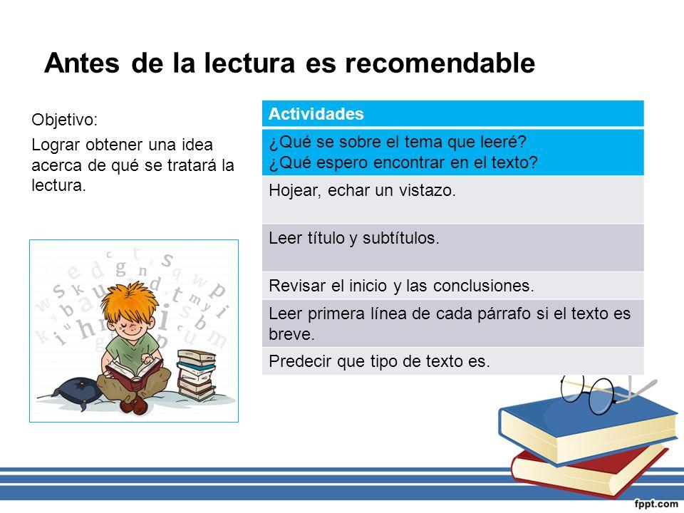 Antes de la lectura es recomendable Objetivo: Lograr obtener una idea acerca de qué se tratará la lectura.
