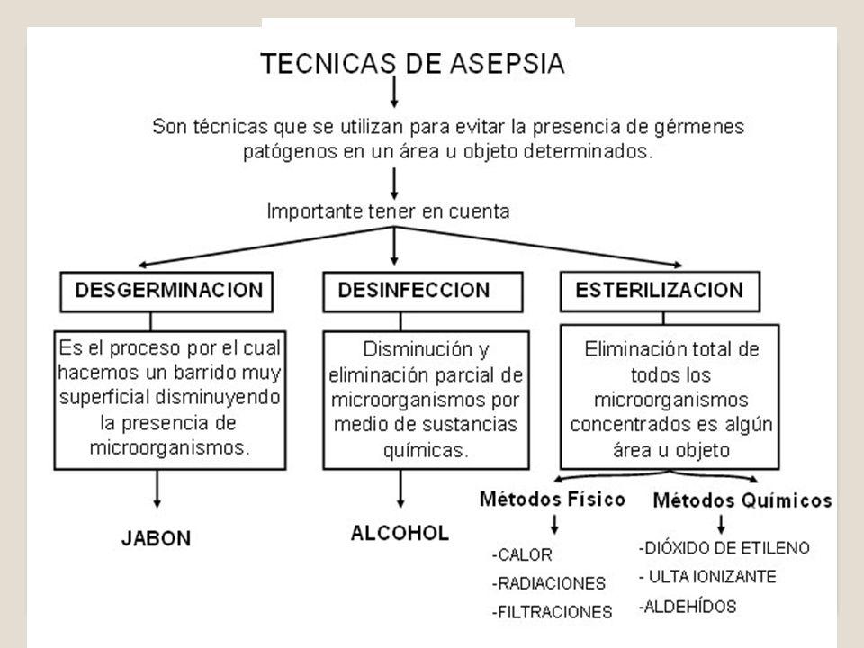 – ASEPSIA QUIRÚRGICA: Procedimiento para eliminar la presencia de microorganismos (técnicas de esterilización) y evita contaminación de áreas quirúrgicas estériles.