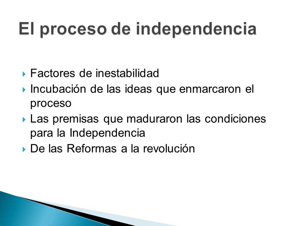  Factores de inestabilidad  Incubación de las ideas que enmarcaron el proceso  Las premisas que maduraron las condiciones para la Independencia  De las Reformas a la revolución