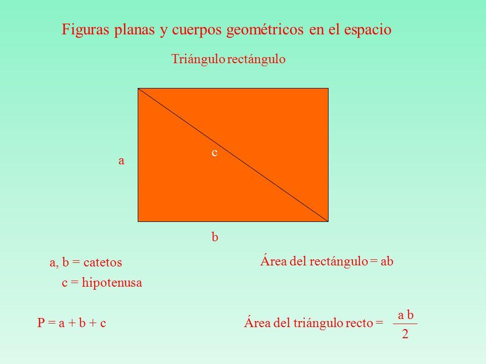 a b c Triángulo rectángulo a, b = catetos c = hipotenusa P = a + b + c Área del rectángulo = ab a b 2 Área del triángulo recto = Figuras planas y cuerpos geométricos en el espacio