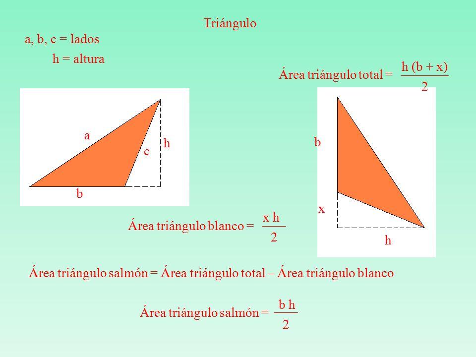 a b c h Área triángulo salmón = b h 2 Triángulo a, b, c = lados h = altura b x h Área triángulo total = h (b + x) 2 Área triángulo salmón = Área triángulo total – Área triángulo blanco Área triángulo blanco = x h 2