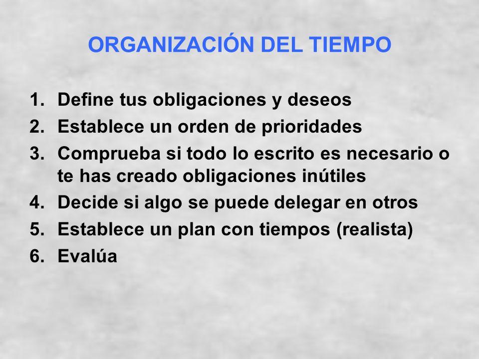 ORGANIZACIÓN DEL TIEMPO 1.Define tus obligaciones y deseos 2.Establece un orden de prioridades 3.Comprueba si todo lo escrito es necesario o te has creado obligaciones inútiles 4.Decide si algo se puede delegar en otros 5.Establece un plan con tiempos (realista) 6.Evalúa