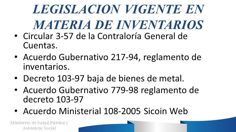 LEGISLACION VIGENTE EN MATERIA DE INVENTARIOS Circular 3-57 de la Contraloría General de Cuentas. Acuerdo Gubernativo 217-94, reglamento de inventario
