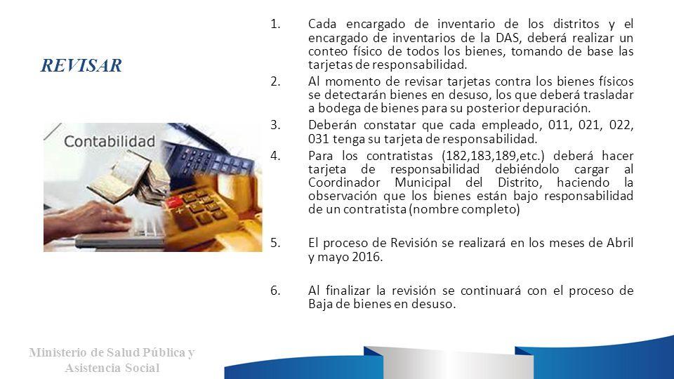 REVISAR 1.Cada encargado de inventario de los distritos y el encargado de inventarios de la DAS, deberá realizar un conteo físico de todos los bienes, tomando de base las tarjetas de responsabilidad.