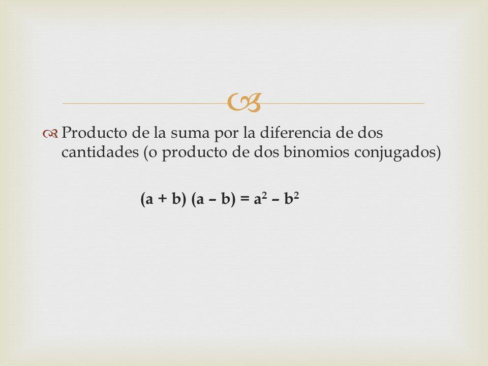   Producto de la suma por la diferencia de dos cantidades (o producto de dos binomios conjugados) (a + b) (a – b) = a 2 – b 2