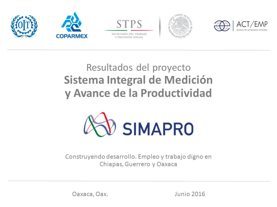 Resultados del proyecto Sistema Integral de Medición y Avance de la Productividad Construyendo desarrollo.