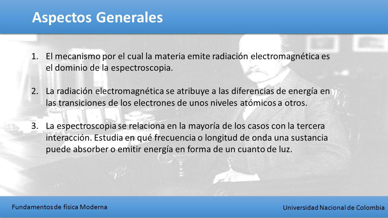 Fundamentos de física Moderna Universidad Nacional de Colombia Aspectos Generales 1.El mecanismo por el cual la materia emite radiación electromagnética es el dominio de la espectroscopia.