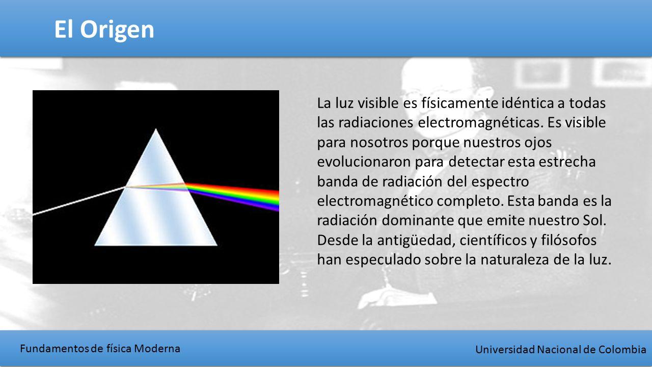 Fundamentos de física Moderna Universidad Nacional de Colombia El Origen La luz visible es físicamente idéntica a todas las radiaciones electromagnéticas.