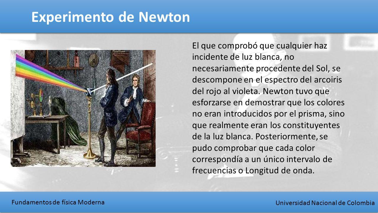 Fundamentos de física Moderna Universidad Nacional de Colombia Experimento de Newton El que comprobó que cualquier haz incidente de luz blanca, no necesariamente procedente del Sol, se descompone en el espectro del arcoiris del rojo al violeta.