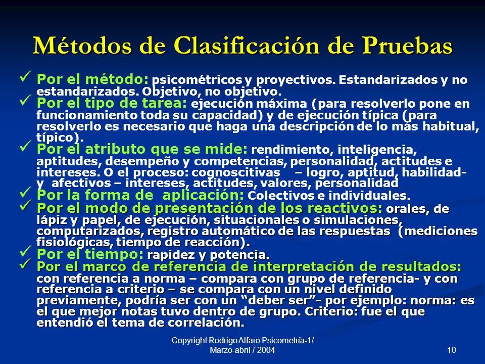 10 Copyright Rodrigo Alfaro Psicometría-1/ Marzo-abril / 2004 Métodos de Clasificación de Pruebas Por el método: psicométricos y proyectivos.