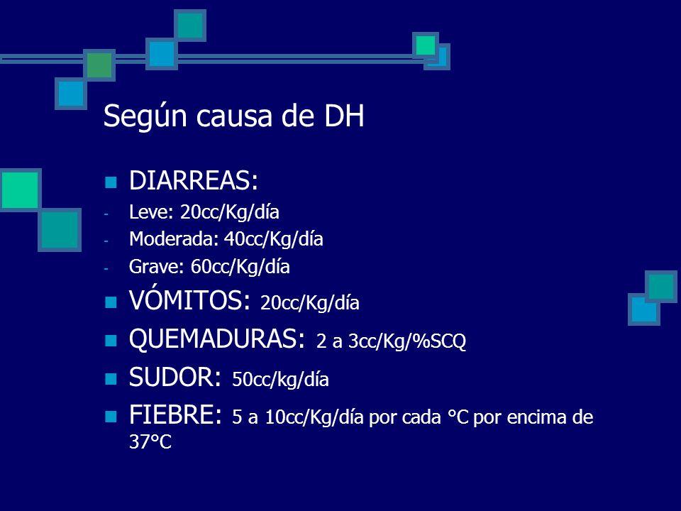 DÉFICIT PREVIO Para determinar las necesidades de agua por déficit previo se debe tener en cuenta el tiempo de DH, y en base a él un % de líquido a reponer.