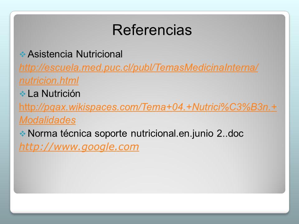 Referencias  Asistencia Nutricional http://escuela.med.puc.cl/publ/TemasMedicinaInterna/ nutricion.html  La Nutrición http://pqax.wikispaces.com/Tem