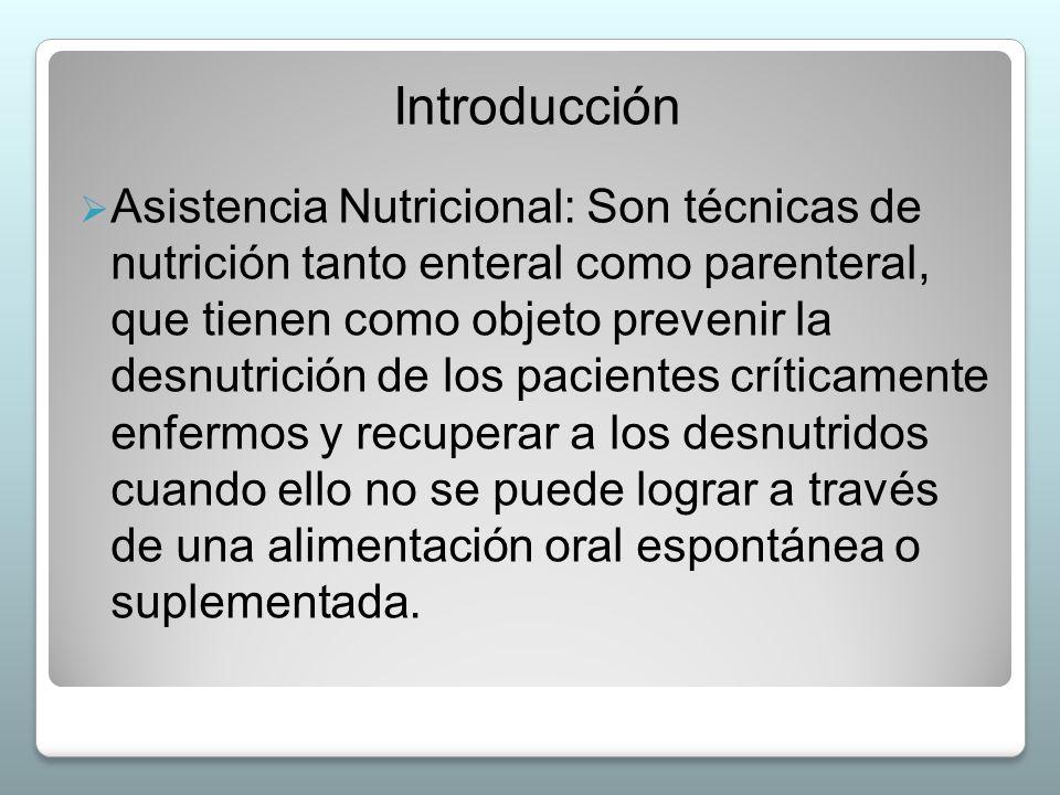 Introducción  Asistencia Nutricional: Son técnicas de nutrición tanto enteral como parenteral, que tienen como objeto prevenir la desnutrición de los