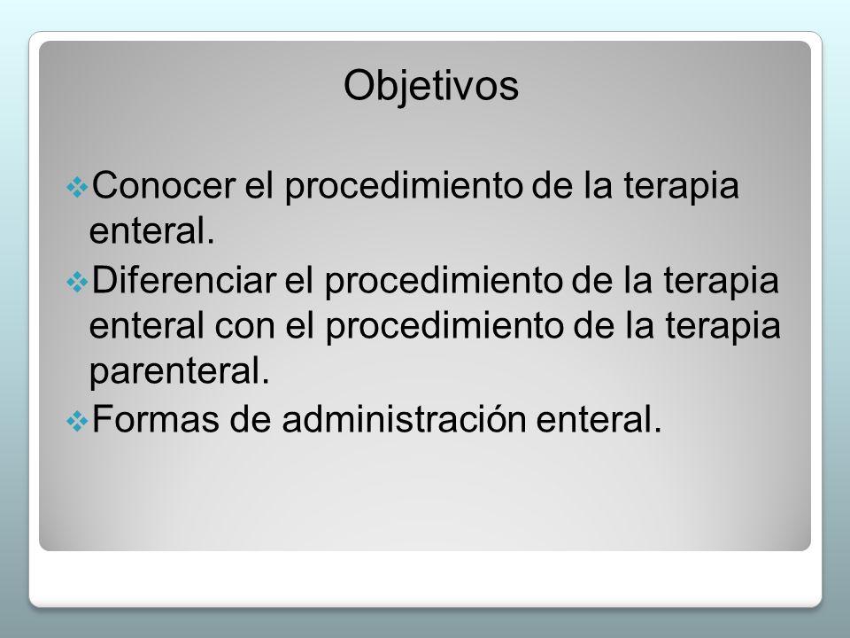 Objetivos  Conocer el procedimiento de la terapia enteral.  Diferenciar el procedimiento de la terapia enteral con el procedimiento de la terapia pa