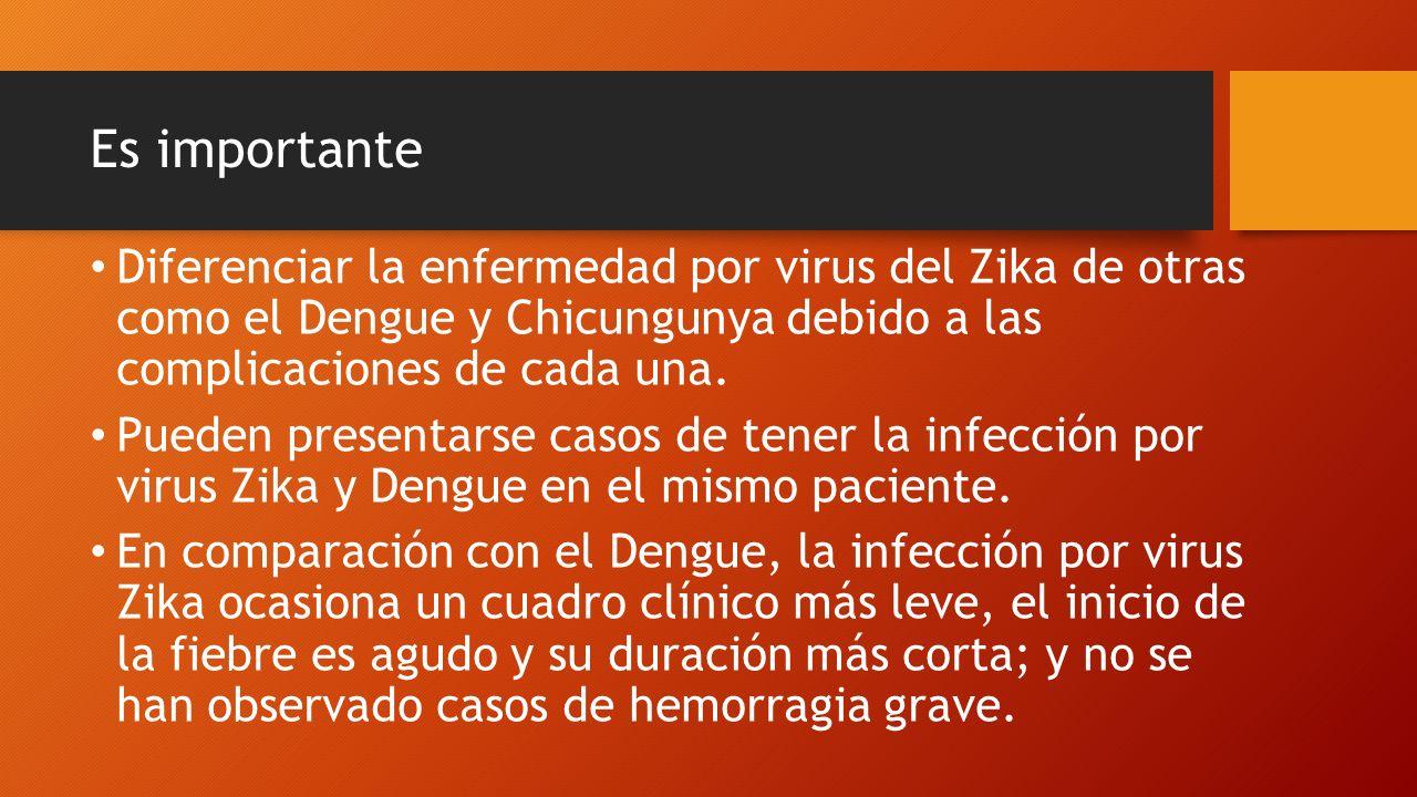 Es importante Diferenciar la enfermedad por virus del Zika de otras como el Dengue y Chicungunya debido a las complicaciones de cada una.