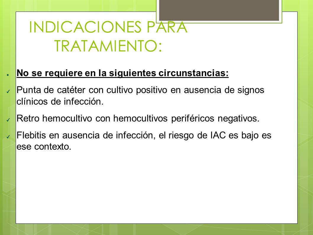 INDICACIONES PARA TRATAMIENTO: ● No se requiere en la siguientes circunstancias: ✔ Punta de catéter con cultivo positivo en ausencia de signos clínico