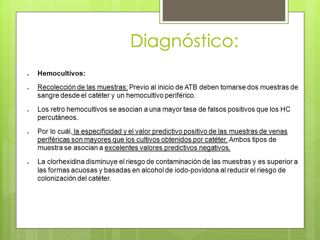 Diagnóstico: ● Hemocultivos: ● Recolección de las muestras: Previo al inicio de ATB deben tomarse dos muestras de sangre desde el catéter y un hemocul
