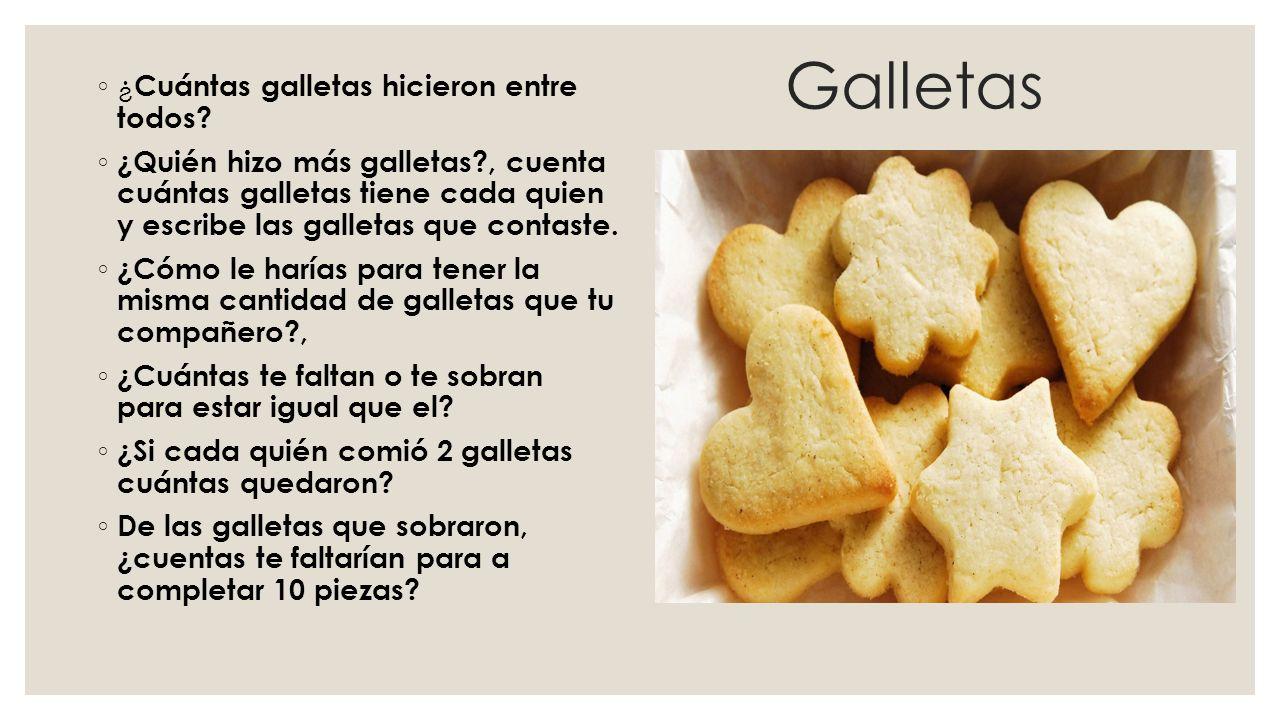 Galletas ◦ ¿ Cuántas galletas hicieron entre todos? ◦ ¿Quién hizo más galletas?, cuenta cuántas galletas tiene cada quien y escribe las galletas que c