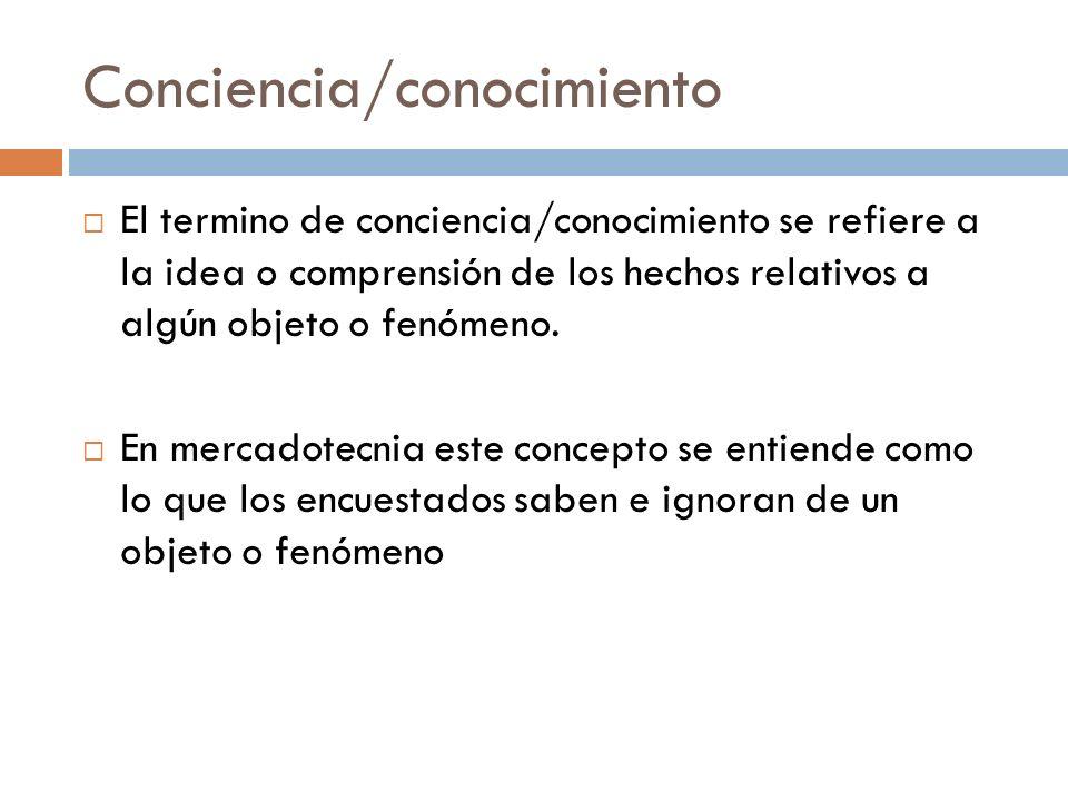 Conciencia/conocimiento  El termino de conciencia/conocimiento se refiere a la idea o comprensión de los hechos relativos a algún objeto o fenómeno.