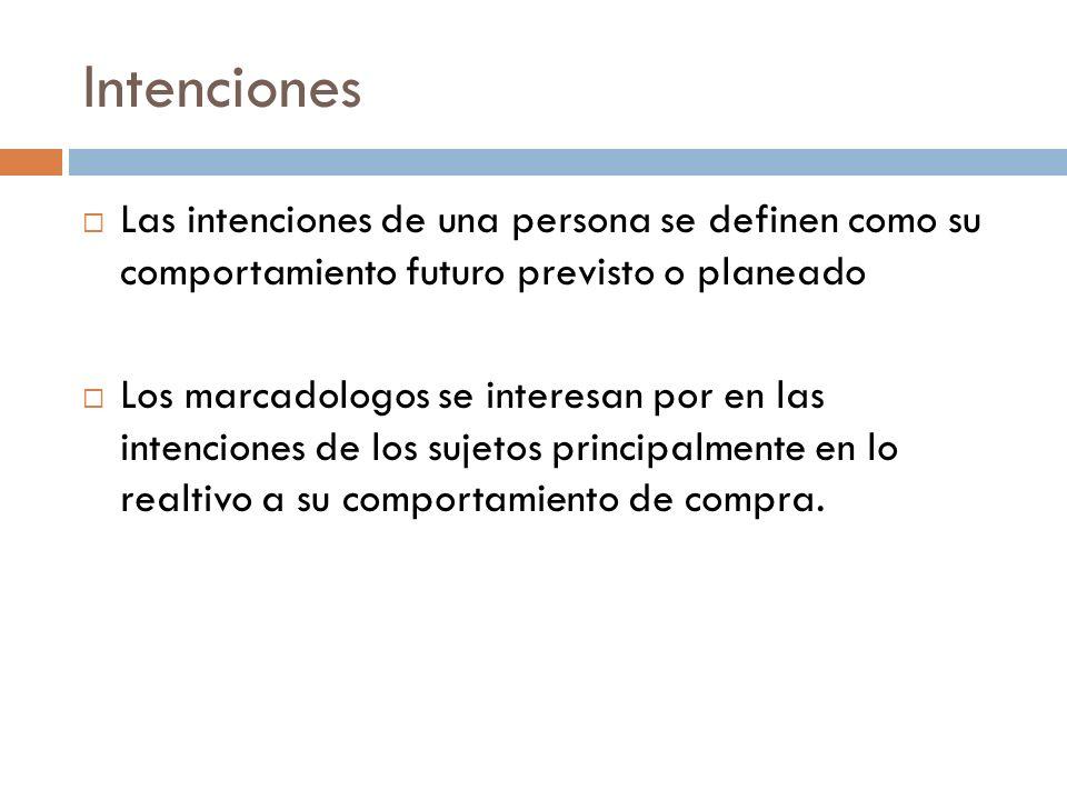 Intenciones  Las intenciones de una persona se definen como su comportamiento futuro previsto o planeado  Los marcadologos se interesan por en las intenciones de los sujetos principalmente en lo realtivo a su comportamiento de compra.