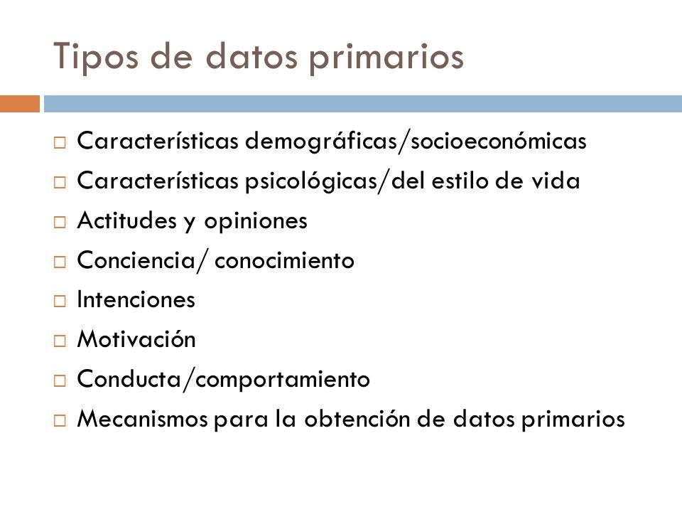 Tipos de datos primarios  Características demográficas/socioeconómicas  Características psicológicas/del estilo de vida  Actitudes y opiniones  Conciencia/ conocimiento  Intenciones  Motivación  Conducta/comportamiento  Mecanismos para la obtención de datos primarios