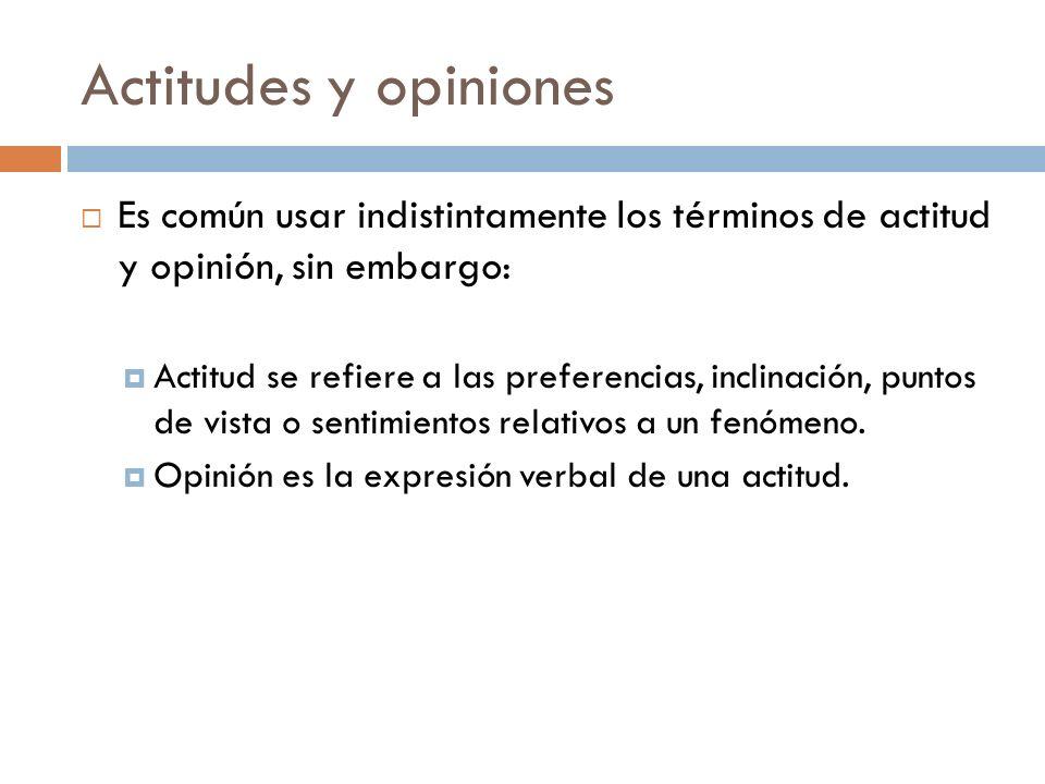 Actitudes y opiniones  Es común usar indistintamente los términos de actitud y opinión, sin embargo:  Actitud se refiere a las preferencias, inclinación, puntos de vista o sentimientos relativos a un fenómeno.
