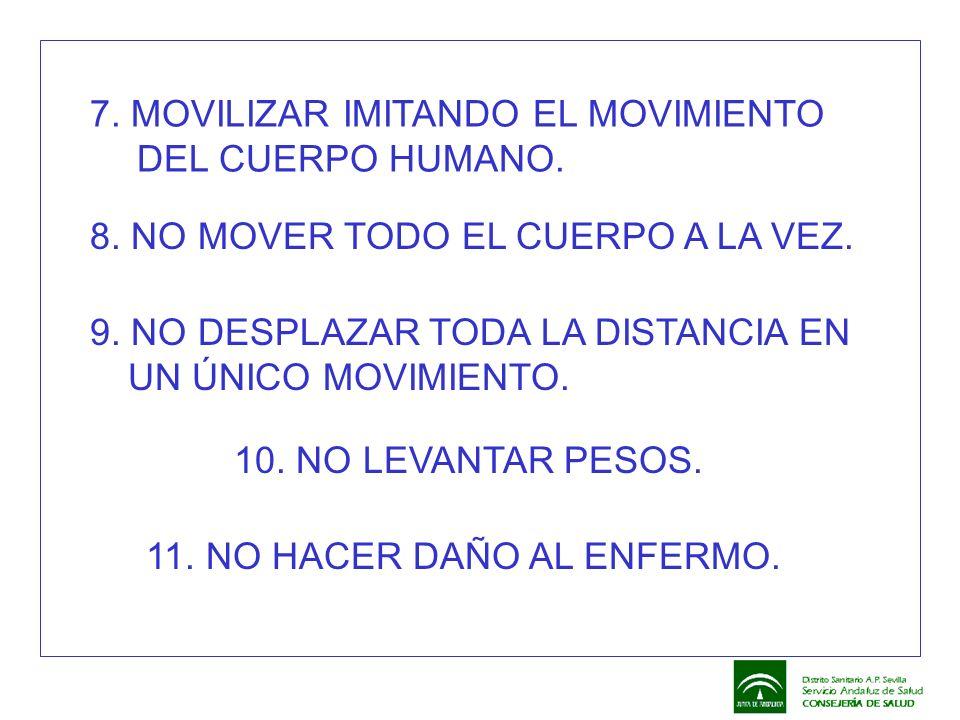 7. MOVILIZAR IMITANDO EL MOVIMIENTO DEL CUERPO HUMANO. 8. NO MOVER TODO EL CUERPO A LA VEZ. 9. NO DESPLAZAR TODA LA DISTANCIA EN UN ÚNICO MOVIMIENTO.