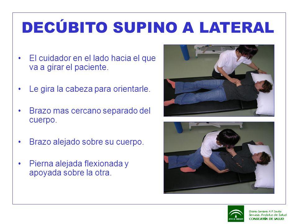 DECÚBITO SUPINO A LATERAL El cuidador en el lado hacia el que va a girar el paciente. Le gira la cabeza para orientarle. Brazo mas cercano separado de