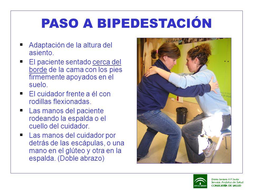 PASO A BIPEDESTACIÓN  Adaptación de la altura del asiento.  El paciente sentado cerca del borde de la cama con los pies firmemente apoyados en el su