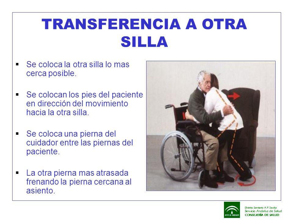 TRANSFERENCIA A OTRA SILLA  Se coloca la otra silla lo mas cerca posible.  Se colocan los pies del paciente en dirección del movimiento hacia la otr