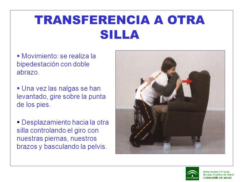 TRANSFERENCIA A OTRA SILLA  Movimiento: se realiza la bipedestación con doble abrazo.  Una vez las nalgas se han levantado, gire sobre la punta de l